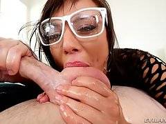 Slobbering with oral passion, Aidra eagerly deep-throats the director`s tool until he spurts hot splooge all over her pretty face and glasses.