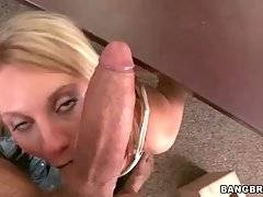Slutty chick Jordan Denae hungrily works her mouth at thick cock.
