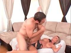 Turned on tough guy deeply penetrates sexy blond milf.
