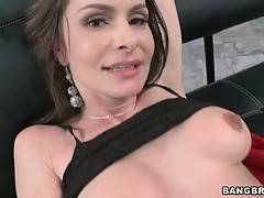 Breasted mature brunette gets her back door poked.