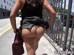 With her ass all out and J-mac gear to dick Juliana down the two stopped next to a van for a quick noon time blow job, no shame with these two.